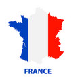 the detailed map of the france with flag vector image