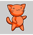 Cute kawaii red cat Sticker for fun vector image vector image