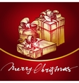 Christmas gift red background hand drawn vector image vector image