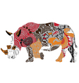 silhouette of a rhinoceros in ethnic patterns vector image vector image