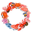 frame with various seafood of fish vector image