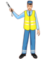 Young traffic-controller with rod eps10 vector image vector image