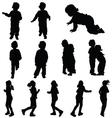 children cute silhouette vector image