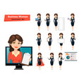 businesswoman with various things set of cute vector image