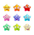 cartoon colorful glossy star characters set vector image