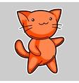 Cute kawaii red cat Sticker for fun vector image