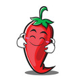 cute smile red chili character cartoon vector image