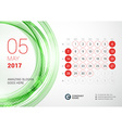 Desk Calendar for 2017 Year May Week Starts Sunday vector image