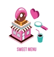 Donut shop Coffee love Food isometric infographic vector image