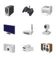 Electronic appliance icons set cartoon style vector image