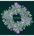 hand drawn wreath with flowers vector image