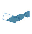 hand holding envelope mail postal icon vector image
