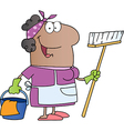 African American Woman Cleaning Cartoon Character vector image