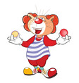 cute cat clown juggler cartoon vector image