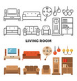 living room furniture and accessories collection vector image
