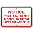 Alcohol Notice 18 Years vector image vector image