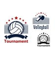 Volleyball emblems with balls whistle and nets vector image
