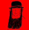 beard man with hat vector image