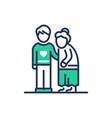 elderly people help - modern line icon vector image