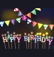 greetings happy birthday with the lights and vector image