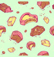 seamless pattern of colored sketches bitten vector image
