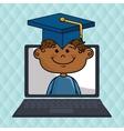 boy laptop student cap vector image