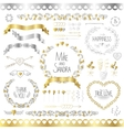 Wedding romantic collection with labels ribbons vector image