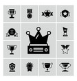 awards trophy and prizes black icons vector image