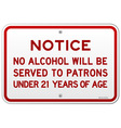 Alcohol Notice 21 Years vector image vector image