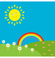 Landscape with sun rainbow and flowers vector image