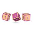 number 1 wooden alphabet blocks vector image