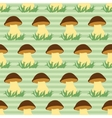 Seamless pattern with porcini on green striped vector image