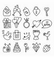 doodle icon set isolated hand drawn vector image