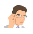 face of a attractive young man in glasses vector image