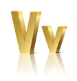Golden letter V vector image