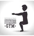 silhouette man exercise squats bodybuilding vector image