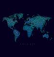 world map tangle lines blue dark vector image
