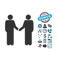 Persons Handshake Flat Icon with Bonus vector image