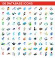 100 database icons set isometric 3d style vector image
