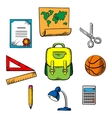 School and education objects icons vector image vector image