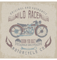 wild racer vintage print with motorcyclewings and vector image