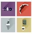 Modern flat icons collection with shadow vector image