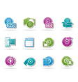 Computer media and disk icons vector image