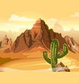 desert hills cactus near big mountain vector image