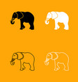 elephant black and white set icon vector image