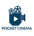pocket cinema logo design vector image