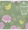 Vintage floral pattern with bird cage peons vector image