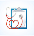 Medical Concept Stethoscope and Clipboard vector image vector image
