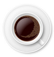 white mug of coffee with foam and saucer on white vector image vector image
