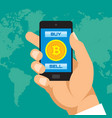 Digital currency bitcoin in smartphone application vector image
